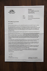 June 16, 2017 - Brighton, East Sussex, United Kingdom - Brighton, UK. Residents of the Hereford Court Tower block in Brighton and Hove received a letter from the Housing department reassuring tenants that safety is their highest priority in the wake of the fire in the Grenfell Tower in London. (Credit Image: © Hugo Michiels/London News Pictures via ZUMA Wire)