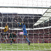 Leandro Damiao, Brazil has his header saved by Mexico keeper Jose  Corona, during the Brazil V Mexico Gold Medal Men's Football match at Wembley Stadium during the London 2012 Olympic games. London, UK. 11th August 2012. Photo Tim Clayton