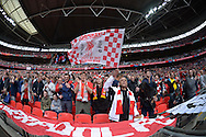 Liverpool fans cheer before the start of the second half. The FA Cup, semi final match, Aston Villa v Liverpool at Wembley Stadium in London on Sunday 19th April 2015.<br /> pic by John Patrick Fletcher, Andrew Orchard sports photography.