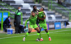 Jayden Richardson of Forest Green Rovers and Aramide Oteh of Stevenage compete for the highball - Mandatory by-line: Nizaam Jones/JMP - 17/10/2020 - FOOTBALL - innocent New Lawn Stadium - Nailsworth, England - Forest Green Rovers v Stevenage - Sky Bet League Two