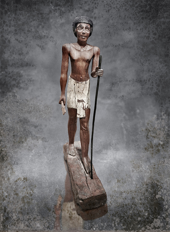 Ancient Egyptian wooden statue of Wepwawetemhat, Middle Kingdom, 12th Dynasty, (1939-1875 BC), Asyut, Tomb of Minhotep. Egyptian Museum, Turin. Cat 8786. .<br /> <br /> Visit our HISTORIC WALL ART PRINT COLLECTIONS for more photo prints https://funkystock.photoshelter.com/gallery-collection/Historic-Antiquities-Photo-Wall-Art-Prints-by-Photographer-Paul-E-Williams/C00002uapXzaCx7Y<br /> <br /> Visit our Museum ART & ANTIQUITIES COLLECTIONS to browse more photo at: https://funkystock.photoshelter.com/p/museum-antiquities