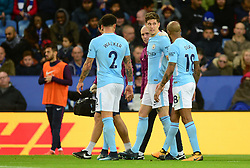 John Stones of Manchester City goes off with an injury - Mandatory by-line: Alex James/JMP - 18/11/2017 - FOOTBALL - King Power Stadium - Leicester, England - Leicester City v Manchester City - Premier League