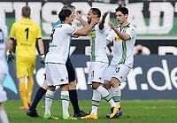 2:0 Jubel v.l. Mahmoud Dahoud, Torschuetze Raffael, Lars Stindl (Gladbach)<br /> Moenchengladbach, 12.03.2016, Fussball Bundesliga, Borussia Moenchengladbach - Eintracht Frankfurt<br /> Norway only