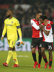 keeper Kenneth Vermeer of Feyenoord, Jean Paul Boetius of Feyenoord, keeper Brad Jones of Feyenoord during the UEFA Champions League group F match between Feyenoord Rotterdam and SSC Napoli at the Kuip on December 06, 2017 in Rotterdam, The Netherlands