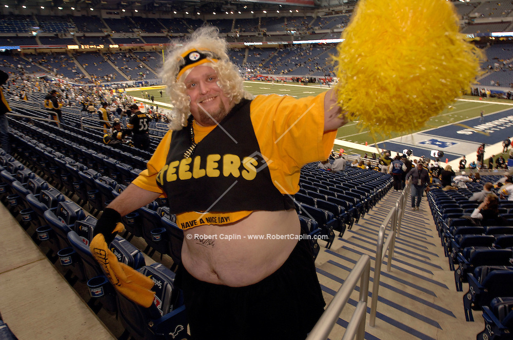 Brian Krek of Pittsburgh is a Steelers season ticket holder and self-proclaimed Steelers cheerleader. He spent $600 for his  Super Bowl XL at Ford Field in Detroit, MI. (Robert Caplin For The New York Times)..