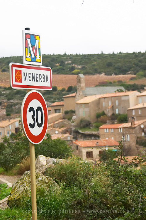 Minerve village Menerba Minervois. Languedoc. Road sign with the name of the village. France. Europe.