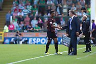 Garath McCleary of Reading shakes hands with manager Nigel Adkins during the Skybet championship match, Yeovil Town v Reading at Huish Park in Yeovil on Saturday 31st August 2013. <br /> Picture by Sophie Elbourn, Andrew Orchard sports photography,