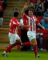 Photo: Ed Godden.<br /> Cheltenham Town v Bristol City. Carling Cup. 22/08/2006.<br /> Steve Guinan (R) celebrates his goal for Cheltenham.