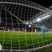 Fenerbahce's scores during their Turkish superleague soccer match Fenerbahce between Genclerbirligi at the Sukru Saracaoglu stadium in Istanbul Turkey on Saturday 25 October 2014. Photo by Aykut AKICI/TURKPIX
