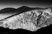 The 3000+ foot peaks of the Carneddau, Pen yr Ole Wen, Carnedd Dafydd and Carnedd Llewelyn in the far distance, as seen from Eldir Fawr in winter.