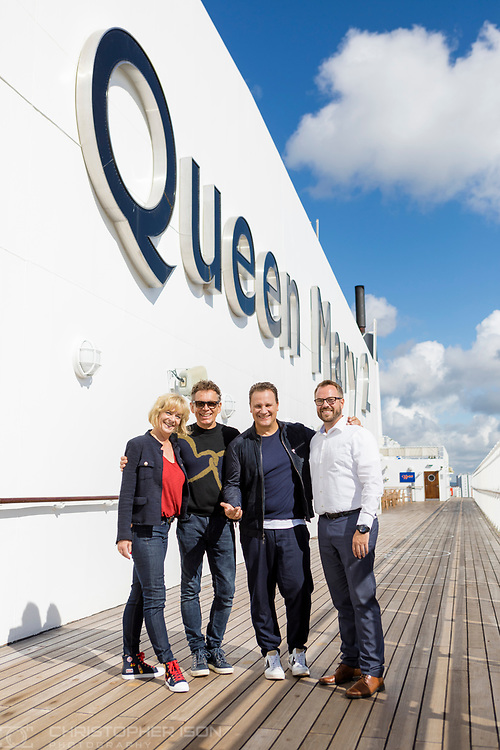 German fashion designer Guido Maria Kretschmer sets sail in style on board Cunard's luxury ocean liner Queen Mary 2 for the first day of Transatlantic Fashion Week. 2017. <br /> Date: Thursday August 31; 2017.<br /> For the second year running, the Transatlantic Fashion Week will bring together some of the most reputable names within the fashion industry to host seven days of runway shows, inspiring talks, glamorous dinners and exclusive unveilings. The ship arrives in to New York on the 7th September the very same day as New York Fashion Week 2017 begins.<br /> Photograph by Christopher Ison © for Cunard.<br /> 07544044177<br /> chris@christopherison.com<br /> www.christopherison.com