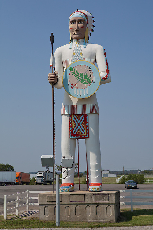 Jumbo American Indian sculpture at a truckstop in Oklahoma