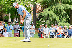 May 4, 2019 - Charlotte, NC, U.S. - CHARLOTTE, NC - MAY 04: Max Homa hits a long putt on the 3rd green during the third round of the Wells Fargo Championship at Quail Hollow on May 4, 2019 in Charlotte, NC. (Photo by William Howard/Icon Sportswire) (Credit Image: © William Howard/Icon SMI via ZUMA Press)