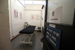 A general view of the physio room at Gander Green Lane, home of Sutton United Football Club in South London.
