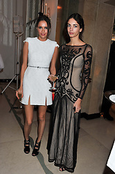 Left to right, SASHA VOLKOVA and the MARCHIONESS OF CHOLMONDELEY at a dinner and dance hosted by Leon Max for the charity Too Many Women in support of Breakthrough Breast Cancer held at Claridges, Brook Street, London on 1st December 2011.