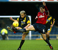 Photo. Chris Ratcliffe<br />Southend United v Bristol Rovers. FA Nationwide 3rd Division. 20/12/2003<br />Graham Hyde of Bristol and kevin Maher of Southend clash