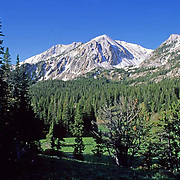 Bridger mountains of the Rocky Mountain chain covered with snow from early summer snow. Montana.