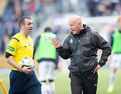 Falkirk's manager Peter Houston not happy with Ref Kevin Graham.<br /> Falkirk 1v 1 Dumbarton, Scottish Championship game played 20/9/2014 at The Falkirk Stadium .