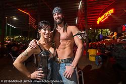 Truna Halverson and Sloan Gasior at the Broken Spoke Saloon during Daytona Bike Week 75th Anniversary event. FL, USA. Wednesday March 9, 2016.  Photography ©2016 Michael Lichter.