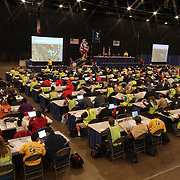 Pilots are briefed about the days flight tasks during The World Hot Air Ballooning Championships. Battle Creek, Michigan, USA. 19th August 2012. Photo Tim Clayton