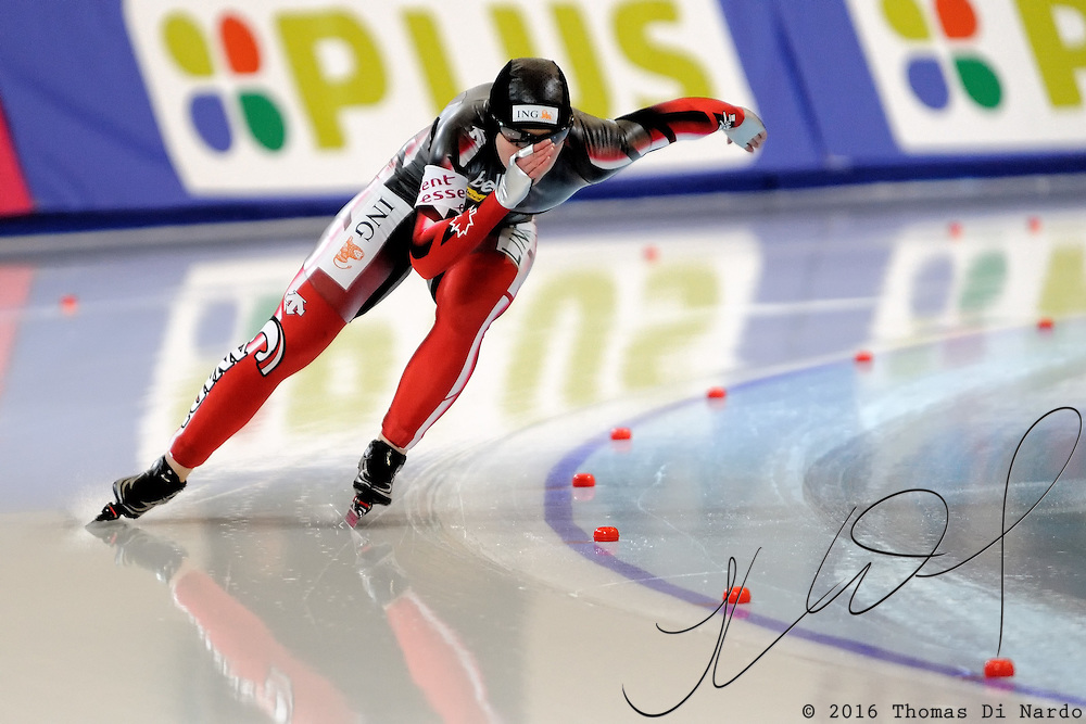 Kim Weger (CAN) competes in the ladies 500m event at the 2009 Essent ISU World Single Distances Speed Skating Championships. Weger finished in the 22nd overall position. The overall winner in the 500m distance was Jenny Wolf (GER).