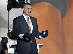 October 1, 2018 - Kiev, Ukraine - Former heavyweight boxing champion and current Mayor of Kiev VITALI KLITSCHKO speaks during the opening of the 56th World Boxing Convention in Kiev, Ukraine, on 1 October 2018. The WBC 56th congress in which take part boxing legends Evander Holyfield,Lennox Lewis, Eric Morales and about 700 participants from 160 countries runs in Kiev from from September 30 to October 5. (Credit Image: © Serg Glovny/ZUMA Wire)