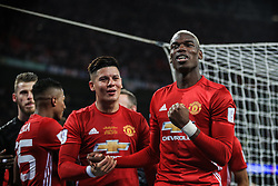 26 February 2017 - EFL Cup Final - Manchester United v Southampton - Paul Pogba and Marcos Rojo celebrate - Photo: Marc Atkins / Offside.
