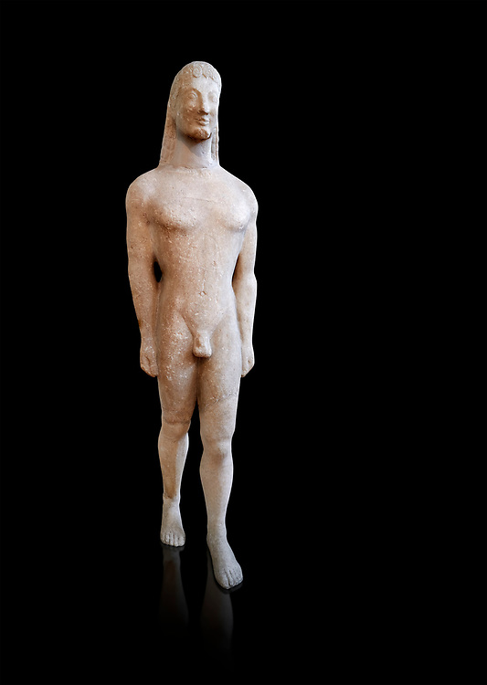 Naxian marble Ancient Greek Archaic statue of a kouros, found on Thera, circa 590-570 BC BC, Athens National Archaeological Museum. Cat no 8. Against black<br /> <br /> This statue is typical of a Thera island workshop .<br /> <br /> If you prefer to buy from our ALAMY STOCK LIBRARY page at https://www.alamy.com/portfolio/paul-williams-funkystock/greco-roman-sculptures.html . Type -    Athens    - into LOWER SEARCH WITHIN GALLERY box - Refine search by adding a subject, place, background colour, etc.<br /> <br /> Visit our ROMAN WORLD PHOTO COLLECTIONS for more photos to download or buy as wall art prints https://funkystock.photoshelter.com/gallery-collection/The-Romans-Art-Artefacts-Antiquities-Historic-Sites-Pictures-Images/C0000r2uLJJo9_s0