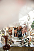 Bride and groom Lily and David are reflected in a mirror during their wedding in Napa, California.