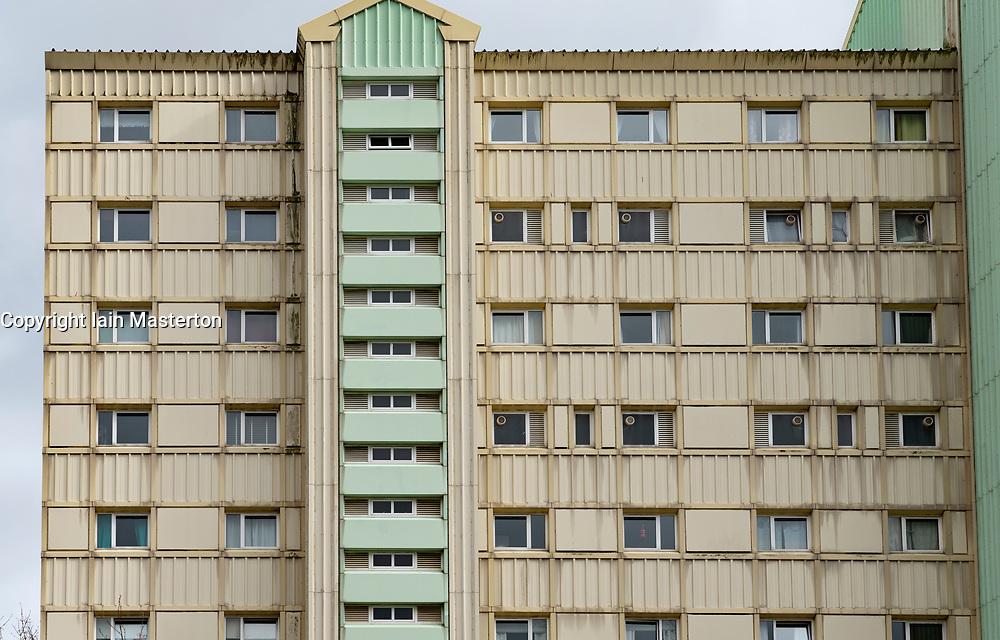Detail of high rise council block of flats  in Wester Hailes, Edinburgh, Scotland, UK