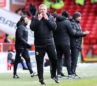 Sheffield United manager Chris Wilder shouts instructions to his team from the dug-out <br /> <br /> Photographer David Shipman/CameraSport<br /> <br /> The EFL Sky Bet Championship - Sheffield United v Nottingham Forest - Saturday 17th March 2018 - Bramall Lane - Sheffield<br /> <br /> World Copyright © 2018 CameraSport. All rights reserved. 43 Linden Ave. Countesthorpe. Leicester. England. LE8 5PG - Tel: +44 (0) 116 277 4147 - admin@camerasport.com - www.camerasport.com