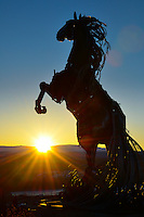Whitehorse, Yukon, metal sculpture horse in sunrise