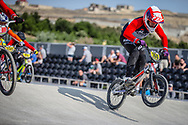#160 during practice at the 2018 UCI BMX World Championships in Baku, Azerbaijan.
