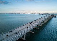 MIAMI, FLORIDA - CIRCA APRIL 2017: Aerial View of Rickenbacker Causeway Bridge in Miami