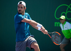 March 22, 2018 - Miami, Florida, United States - Thomas Fabbiano, from Italy, playing against Nikoloz Basilashivili, from Georgia, during his first round match at the Miami Open  on March 23, 2018 in Key Biscayne, Florida. Basilashivil defeated Fabbiano 1-6, 6-2, 7-5 (Credit Image: © Manuel Mazzanti/NurPhoto via ZUMA Press)