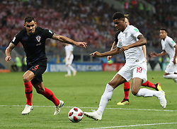 MOSCOW, July 11, 2018  Marcus Rashford (R) of England vies with Dejan Lovren of Croatia during the 2018 FIFA World Cup semi-final match between England and Croatia in Moscow, Russia, July 11, 2018. Croatia won 2-1 and advanced to the final. (Credit Image: © Yang Lei/Xinhua via ZUMA Wire)