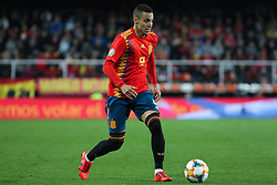 March 23, 2019 - Valencia, Valencia, Spain - Rodrigo of Spain in action during European Qualifiers championship, , football match between Spain and Norway, March 23th, in Mestalla Stadium in Valencia, Spain. (Credit Image: © AFP7 via ZUMA Wire)