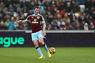 Michael Keane of Burnley in action.Premier league match, Swansea city v Burnley at the Liberty Stadium in Swansea, South Wales on Saturday 4th March 2017.<br /> pic by Andrew Orchard, Andrew Orchard sports photography.
