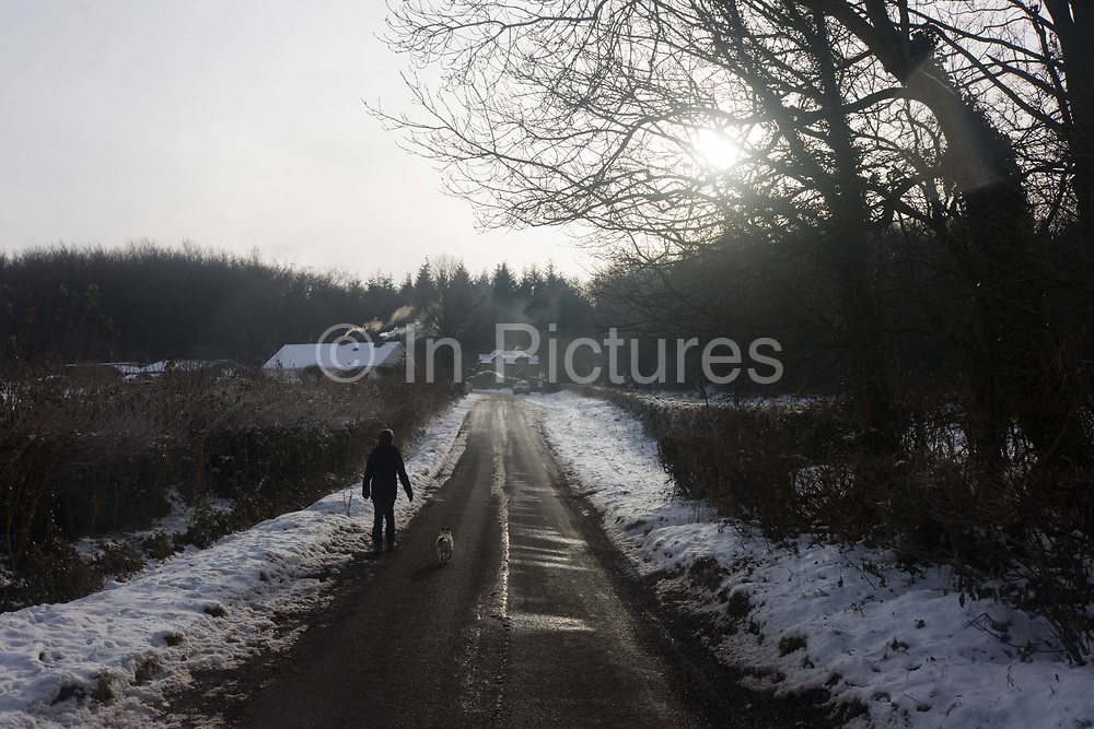 A 12 year-old boy walks along a frozen rural road with his pet dog following alongside during wintry conditions in North Somerset. The viewer also follows on as the lad walks towards his home on a hill, set near the bare mid-winter trees during a particularly nasty period of the Christmas holiday period. The boy's house is in the distance with wood smoke curling from two chimneys. The smoke wafts across the remote road in the Mendip Hills, recently cleared of snow but still deceptively icy. The low sun is slightly obscured by bare branches and offers little warmth to this bleak landscape.