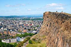 View of Salisbury Crags above the city of Edinburgh in Scotland, UK