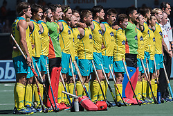 players of Australia during the national hymne during the Champions Trophy finale between the Australia and India on the fields of BH&BC Breda on Juli 1, 2018 in Breda, the Netherlands.
