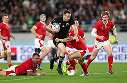 New Zealand's Ben Smith goes on to score his sides third try during the 2019 Rugby World Cup bronze final match at Tokyo Stadium.