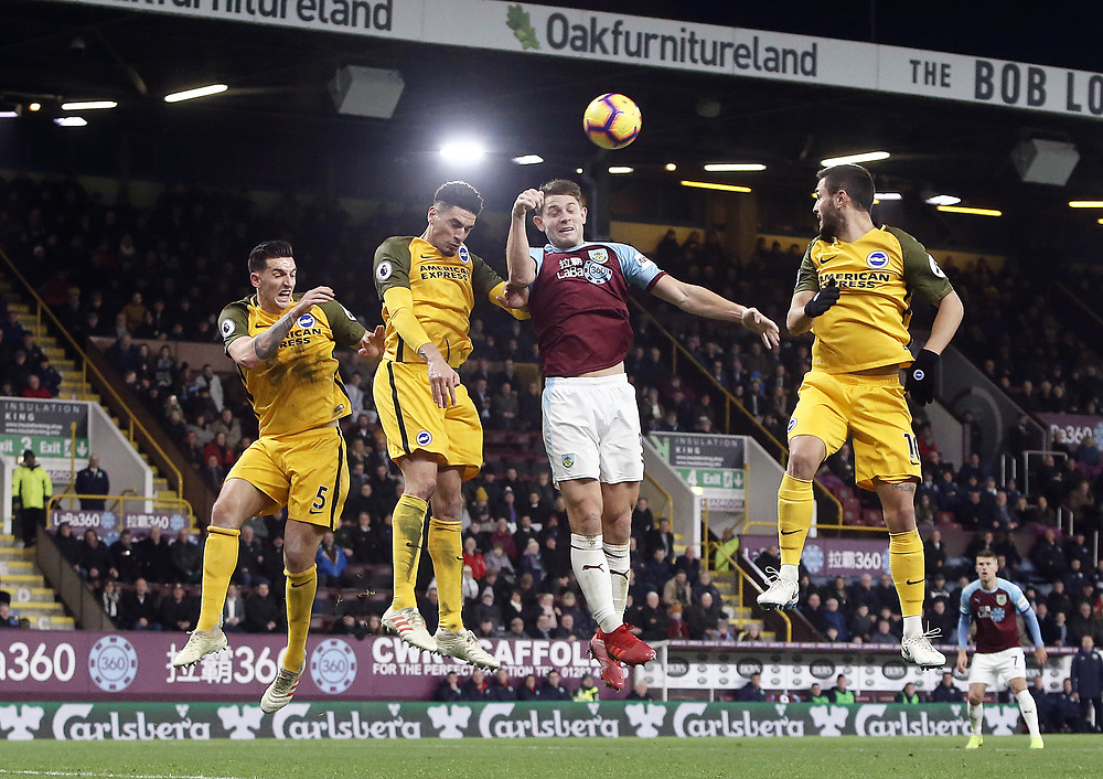 Burnley's James Tarkowski heads just off target during the second half <br /> <br /> Photographer Rich Linley/CameraSport<br /> <br /> The Premier League - Burnley v Brighton and Hove Albion - Saturday 8th December 2018 - Turf Moor - Burnley<br /> <br /> World Copyright © 2018 CameraSport. All rights reserved. 43 Linden Ave. Countesthorpe. Leicester. England. LE8 5PG - Tel: +44 (0) 116 277 4147 - admin@camerasport.com - www.camerasport.com