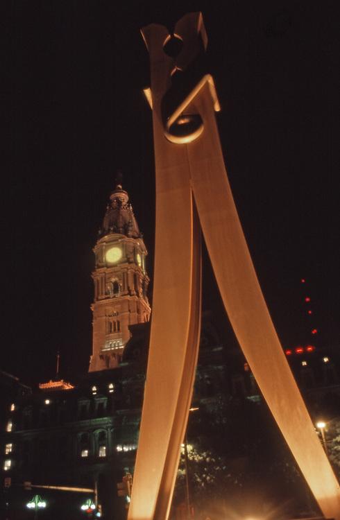 """Clothespin,"" steel sculpture, artist Claes Oldenburg. City Hall, Centre Square,  Philadelphia, PA"