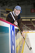 """Wilmott Charles """"The Whip"""" Marshall (born December 1, 1931) is a Canadian retired ice hockey forward. Marshall holds all-time records for most goals, most points, most assists, most hat tricks, and most games played in the American Hockey League.<br /> <br /> Marshall also played with the Toronto Maple Leafs in the National Hockey League over the course of four seasons.<br /> <br /> The Willie Marshall Award, which is awarded to the AHL's leading goal scorer, is named after him.<br /> <br /> In his later years, Marshall has become an avid author who has self-published numerous volumes of Christian poetry and several nonfiction works on Christian history, theology, and doctrine. He is currently working on an autobiography. He currently resides in Lebanon, Pennsylvania. Photograph by Jim Graham"""