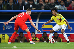 England's Jordan Henderson and Colombia's Juan Guillermo Cuadrado during the 1/8 final game between Colombia and England at the 2018 FIFA World Cup in Moscow, Russia on July 3, 2018. Photo by Lionel Hahn/ABACAPRESS.COM