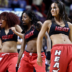March 10, 2011; Miami, FL, USA; Miami Heat dancers perform during a game against the Los Angeles Lakers at the American Airlines Arena.    Mandatory Credit: Derick E. Hingle