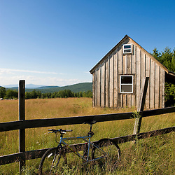 A mountain bike and barn on Birch Hill in New Durham, New Hampshire.