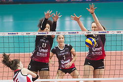 December 12, 2017 - Busto Arsizio, Varese, Italy - Valentina Diouf (#13 Yamamay e-work Busto Arsizio) and Beatrice Berti (#15 Yamamay e-work Busto Arsizio) during the Women's CEV Cup match between Yamamay e-work Busto Arsizio and ZOK Bimal-Jedinstvo Brcko at PalaYamamay in Busto Arsizio, Italy, on 12 December 2017. Italian Yamamay e-work Busto Arsizio team defeats 3-0 Bosnian ZOK Bimal-Jedinstvo Brcko. (Credit Image: © Roberto Finizio/NurPhoto via ZUMA Press)