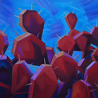 Prickly pear cacti making a playful appearance!<br /> 12 x 12, oil on canvas.<br /> SOLD